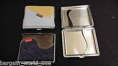 POCKET CIGARETTE LEATHER - DENIM - METAL TOBACCO BOX CASE - TIN BOX - ROLL UPS