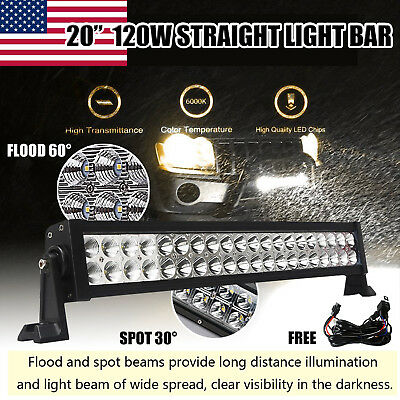 20 inch 120w Spot Flood Combo LED ALLOY Boat UTE Car SUV ATV Work Light Bar 4WD