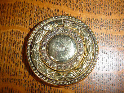 Ornate Victorian Cast Brass Drawer/Door Ring Pull, Single Post