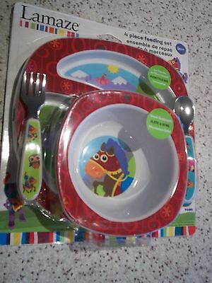 Lamaze Toddler 4 Piece Red Or Pink Feeding Set Inc Fork, Spoon, Plate, Bowl