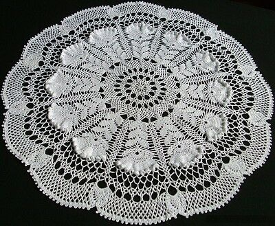NEW, HANDMADE WHEAT LACE CROCHET CENTERPIECE - white (Andromeda) - 20.5-INCHES
