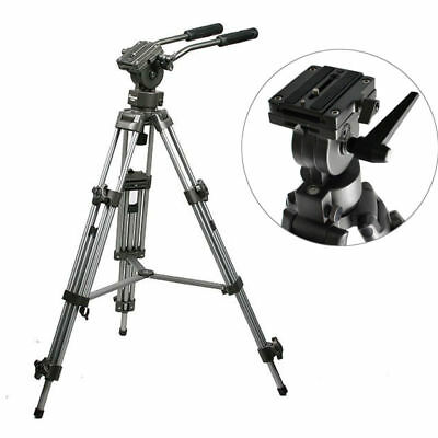 Heavy Duty Tripod Stand Fluid Video Head for DSLR Camera Camcorder + Carry Bag
