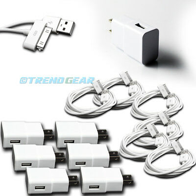 6X 2A TRAVEL ADAPTER+6FT USB 30PIN CABLE WALL CHARGER BLACK IPHONE 4S IPAD IPOD