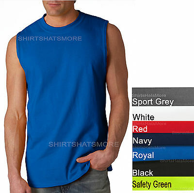 Gildan Mens Sleeveless Muscle T-Shirt Shooter Cotton S-2XL Gym Run Basketball