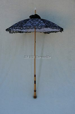 Victorian Edwardian Downton Abbey style Black Lace Parasol extra long handle!
