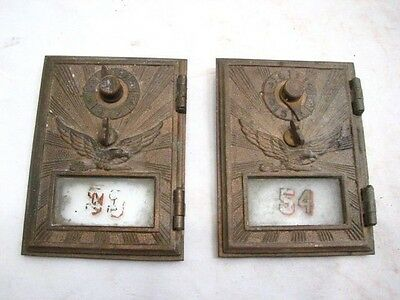 Pair Antique USPS Flying Eagle Mail Post Office Box Door US Brass Glass Window A