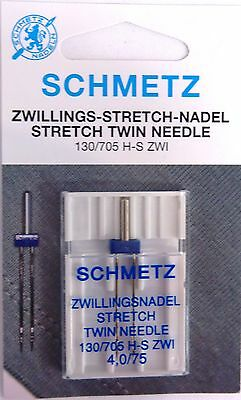 Schmetz Twin Stretch Needle 4.0mm Size 75/11 - Great for Stretch, Synthetics