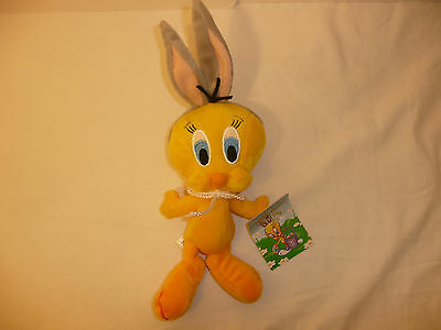 Tweety Bird Easter Holiday Plush Stuffed Animal -  Rabbit Bean Bag Looney Tunes
