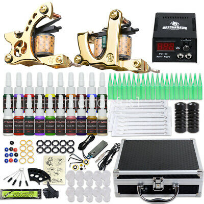 Complete Beginner Tattoo kit Machine Guns Power Supply Needles Inks Grip HW-26GD