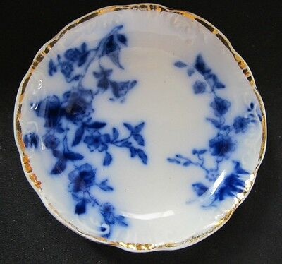 """FLOW BLUE 2 7/8"""" ROSE BUTTER PAT BY GRINDLEY CIRCA 1891 NEAR MINT CONDITION"""