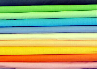 "100% Cotton Fabric pattern  sheeting plain colours 160cmx100cm 64""width"