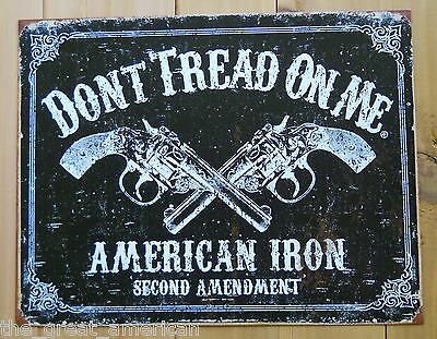 DTOM Don't Tread On Me 2nd Ammendment American Iron Guns Vintage Tin Sign USA