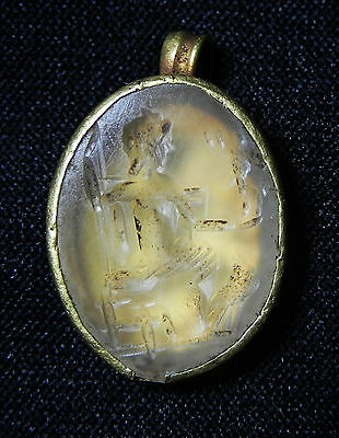 Zurqieh - Roman- Egyptian Gold Pendant With Beautiful Rock Crystal Intaglio