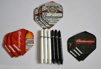 3 Sets Of Budweiser Flights And Black And White Deflectagrip Stems