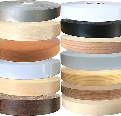 Pre-Glued Iron On Melamine 22mm Edging Banding Tape Various Colours & Designs