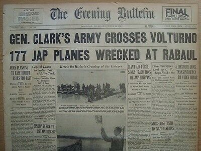 0208110WQ WW II GEN CLARK US 5th ARMY CROSS VOLTURNO 1943 WORLD WAR 2 NEWSPAPER