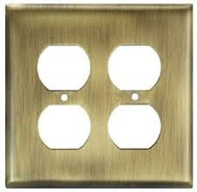 Wall Plate Stanley Home Designs V8003 Double Outlet , Antique, Brass (SINGLE PK)