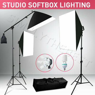 3425W Photography Photo Studio Video 3 Softbox Lighting Light Stand Boom Arm Kit