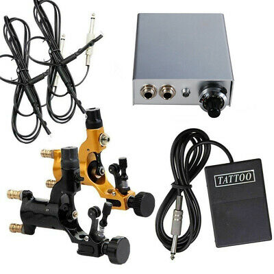2pcs rotary tattoo machine gun with power supply foot pedal 2 clip cord kit BYL