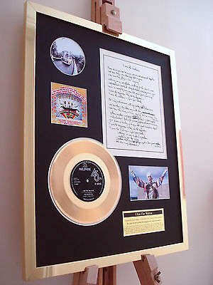Beatles / Walrus Gold Disc Record Vinyl Original Hand Written Lyrics Display