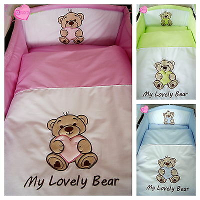 Lovely 3 pcs BABY BEDDING SET/BUMPER/PILLOWCASE/DUVET COVER to fit cot/cot bed