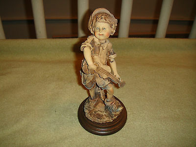 Superb Himark Italy Figurine Of Young Boy Playing Guitar-Giusippe Armani?-Detail