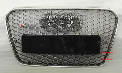 RS5 Style Grille For 2013 2014 15 Audi A5 Chrome Frame Matte Silver Chrome Rings