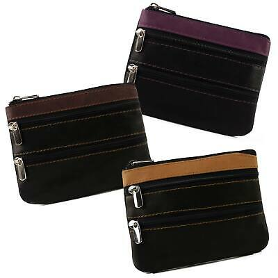 New Ladies Gents Zipped COIN PURSE Soft Smooth LEATHER 3 Colours Golunski Zen