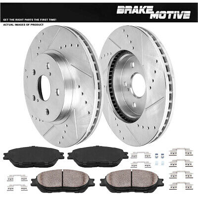 FRONT DRILLED AND SLOTTED BRAKE ROTORS & CERAMIC PADS Toyota Camry Avalon Sienna