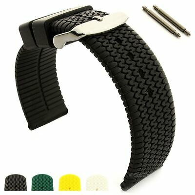 Men's Silicone Rubber Watch Strap Band Waterproof Resin 18 20 22 Summer Tread MM