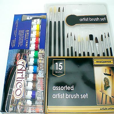 Model Trains Railway Station Brushes And Acrylics Paints Set Kit Crafts Supply