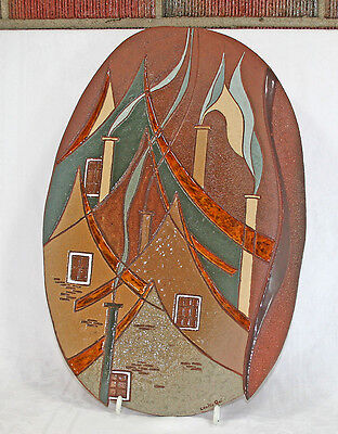 """Stunning 1970's Abstract Wall Plaque 19"""" Tall Denise Cantin Quebec Artist"""