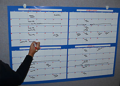 Eraseable 4 Month Wall Calendar Large with marker(write on-wipe off)