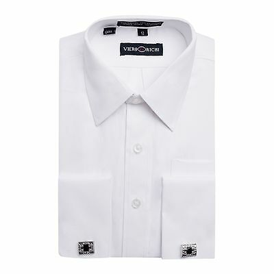 Boys VIERO RICHI French Cuff White on White Cufflink Dress Shirt With Cufflinks