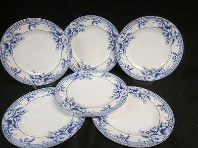 6 PTS INTERNATIONAL INTERIORS COTTAGE ROSE STONEWARE DINNER PLATE BLUE 10 3/4""