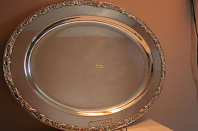 Vtg Wm Rogers Silver plate Meat Dish Tray 1909 Victorian Rose serving platter 18