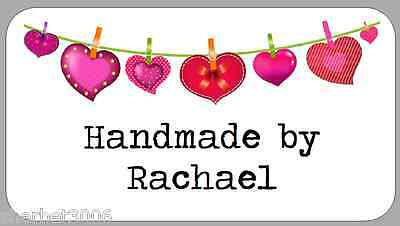 65 x Personalised Stickers Bunting Hearts Handmade by Mini Labels