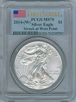 2014-W Ms-70 West Point Mint American Silver Eagle Pcgs Ms70 First Strike