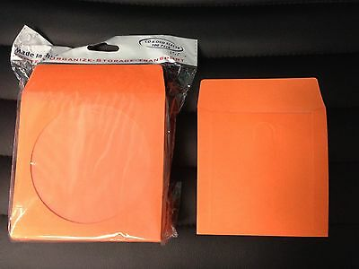 100 Orange Cd Dvd Blu Ray Video Game Paper Sleeve Envelope Clear Window Flap