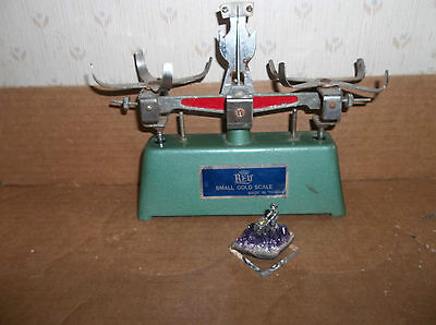 Vintage gold scale no weights or baskets,parts only, with a miner trinket