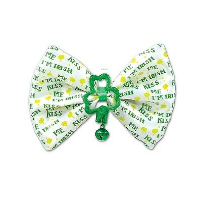 St. Patrick's Day KISS ME I''M IRISH  Lucky Bow Tie with Bell and Shamrocks