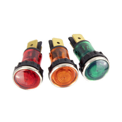 Panel neon indicator lamp with chrome bezel 12mm