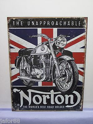 NORTON, THE WORLDS BEST ROADHOLDER, 2 METAL SIGN, APO and FPO WELCOME