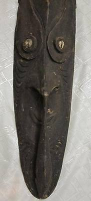 "Antique Ancestor Fisherman Spirit Carved Wood & Shells 28"" Mask New Guinea Papua"