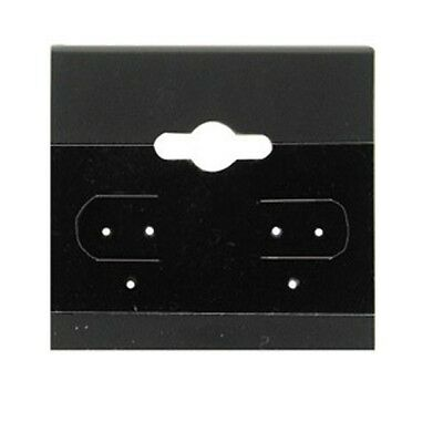 """100 Jewelry Earring Display Cards Black Flocked Hanging Price Tags 1.5 X 1.5"""""""