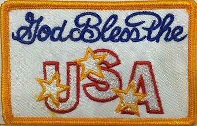God Bless The USA Embroidered Patch Iron-On Tactical Morale Gold Border