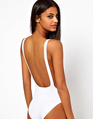 Womens Scoop Neck Dipped Back White* Backless* Bodysuit Leotard Top