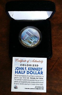 US JFK Half Dollar Colorized WTC 9-11 Third Anniversary   w/ Case & Certificate