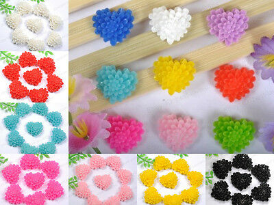 30pcs Wholesale lots 10 Colors heart Resin Flower Flatback Cabochons 13MM