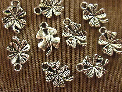 20 Antique Silver 15x10mm 4-Leaf Clover Charms #ch931 Combine Post-See Listing